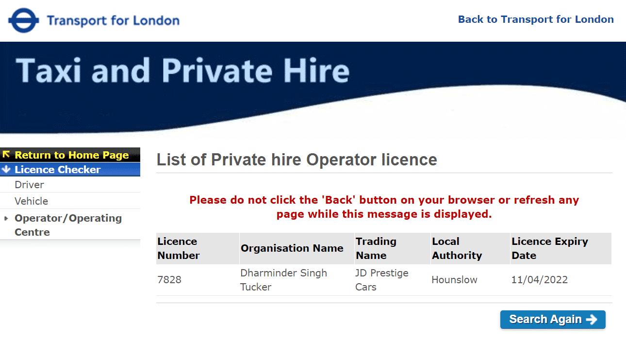 TFL License number 7828